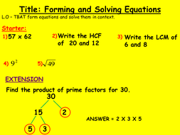 forming and solving equations ks3 low ability ks4 by