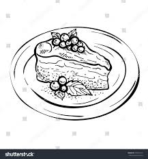 thanksgiving pie cake sketch piece cake charlotte hand drawn stock illustration