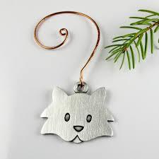 fuzzy cat tree ornament pewter stickmancreations