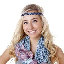 headband styler hipsy adjustable no slip bling glitter navy blue wave headband