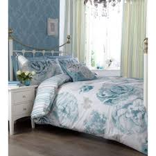 Duck Egg Blue Floral Curtains Catherine Lansfield Ilona Vintage Floral Duckegg Striped Pencil
