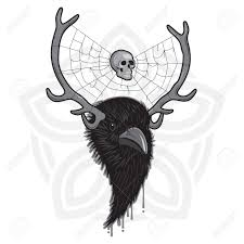 horned of bird with spider web and skull royalty free