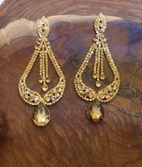 Bling Large Chandelier Extra Long Gold Chandelier Earrings Extra Large Pageant