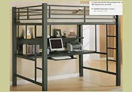 Bunk Bed Computer Desk Black Metal Loft Bed Bedroom Computer Pc Desk Station