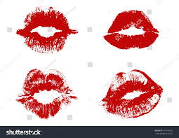 types of red colors four types realistic lip kiss red stock vector 724419097