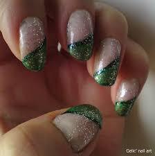 gelic u0027 nail art green sloping funky frech with glitter top coat