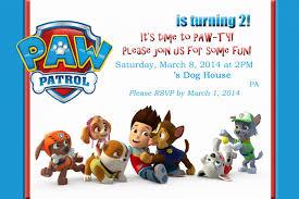 Invitation Card Message Paw Patrol Birthday Invitation Cards 2017 Thewhipper Com