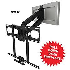 Tv Mount Over Fireplace by Amazon Com Mantelmount Mm540 Pull Down Tv Mount Above Fireplace