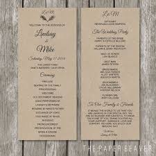 kraft paper wedding programs rustic wedding program kraft wedding ceremony program order of