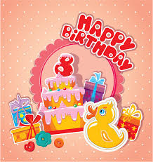 baby birthday card with yellow duck big cake and gift boxes