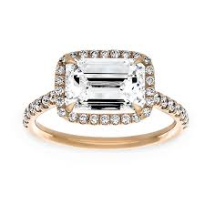 two engagement ring two by east west emerald cut halo engagement ring
