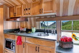 Trailer Home Interior Design by Vintage Airstream Restoration Travel Trailer Customization Idea