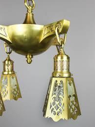 Brass Lighting Fixtures by Art Nouveau Floral Light Fixture 4 Light