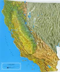 State Map Of California by California Raised Relief Map California Map