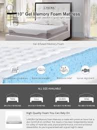 Full Size Memory Foam Mattress Topper Amazon Com Langria 10 Inch Cool Gel Infused Memory Foam Mattress