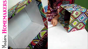 Decorative Cardboard Storage Boxes Home Organization How To Cover A Box With Fabric Youtube