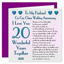 20 year wedding anniversary my husband 20th wedding anniversary card on our china anniversary
