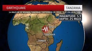 Earthquake Incident Map 5 9 Magnitude Earthquake Shakes Northern Tanzania Killing At