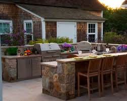 built in outdoor kitchen black granite countertop cherry wood