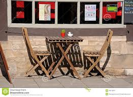 Cafe Chairs Wooden Wooden Table And Chairs Outside Cafe Editorial Photography