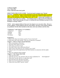 huck finn study guide 11 honors english unit huck finn study