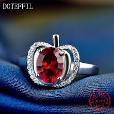 red silver rings images Buy classic red apple zircon ring 100 sterling jpg