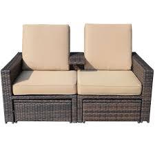 Wicker Patio Furniture Sets Walmart - aosom llc outsunny outdoor 3 piece pe rattan wicker lounge chair