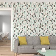 4 murs papier peint chambre intissé iceberg coloris vert menthe gris moyen papier peint 4murs