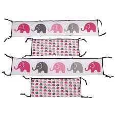 amazon com elephants pink grey 10 pc crib set including bumper