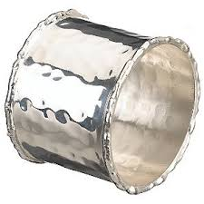 hammered metal napkin ring silver catering equipment hire