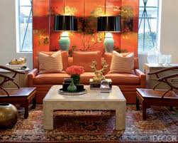 Asian Style Living Room by Asian Inspired Living Room With Orange Chinoiserie Folding Screen