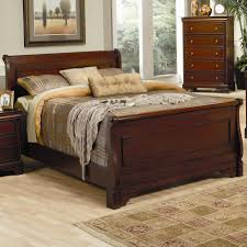 Cheap Sleigh Bed Frames Coaster Versailles Sleigh Bed With Mahogany Stain