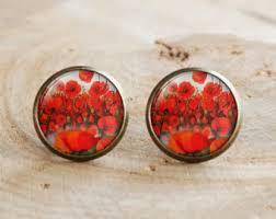 poppy earrings poppy stud earrings etsy