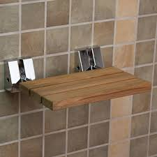 wall mount teak folding shower seat bathroom