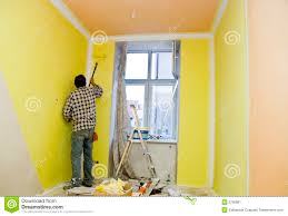 Room Painter Painting Room In Yellow Stock Image Image Of Aged 5756981