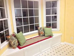 Kitchen Window Seat Ideas Kitchen Bay Windows Design With Wooden Windows Seat Red Beige