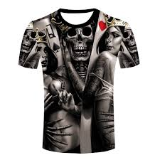 wholesale men the dark poker t shirt queen king tattoo skull t