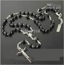 rosary necklace silver images New womens mens silver necklace charm black beads rosary necklace jpg