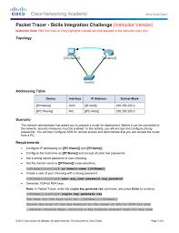 11 6 1 2 packet tracer skills integration challenge instructions ig