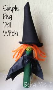 halloween crafts peg doll witch being mrs c