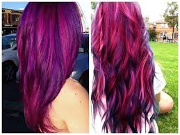dark hair with blonde and purple highlights women medium haircut