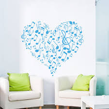 compare prices on music notes wall decal online shopping buy low art vinyl sticker heart musical notes music studio wall decal treble clef home decor bedroom bathroom