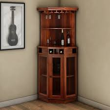 Bar Hutch Glass Door Solid Wood Corner Wine Bar Cabinet