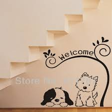 home decor free shipping lovely dogs welcome quote removeable wall stickers home decor free