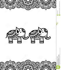 mehndi indian henna tattoo design with elephants stock