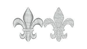 two small fleur de lis machine embroidery designs 2 stitch types
