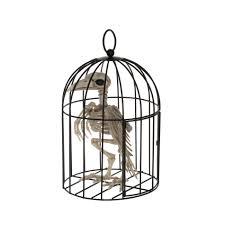 crazy bonez halloween skeleton crow in cage