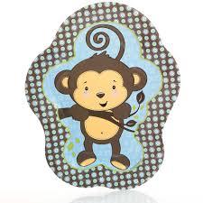 baby shower monkey blue monkey boy baby shower dinner plates 8 ct