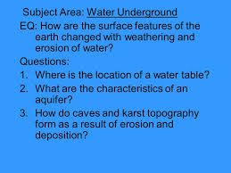 The Location Of The Water Table Is Subject To Change January 13 2014 Agenda 1 Roll 2 Student Survey 3 Powerpoint