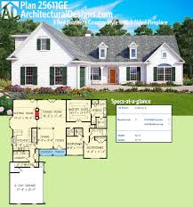 plan 25611ge 3 bed southern country style with 2 sided fireplace